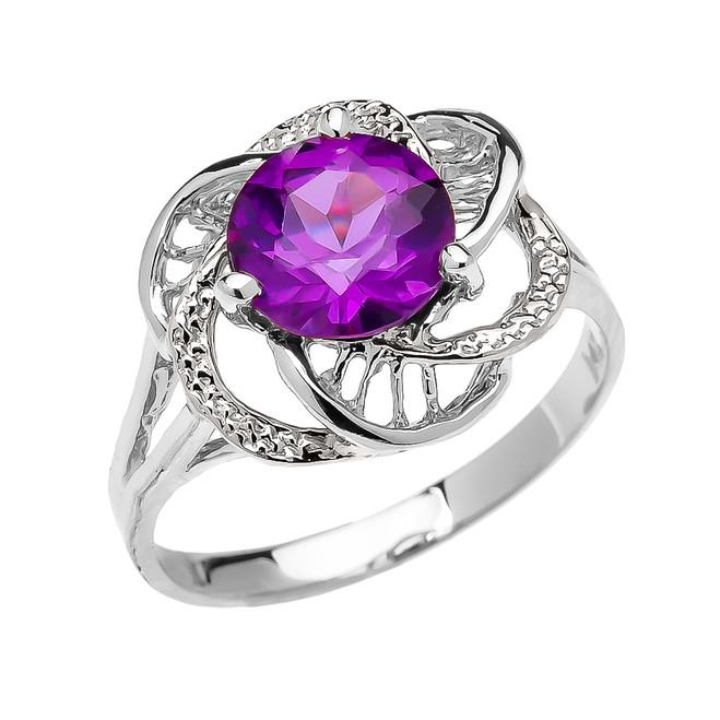 White Gold Amethyst Solitaire Modern Flower Ladies Ring