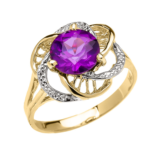 Yellow Gold Amethyst Solitaire Modern Flower Ladies Ring