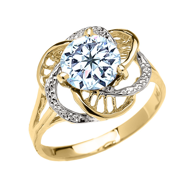 Yellow Gold CZ Aquamarine Solitaire Modern Flower Ladies Ring