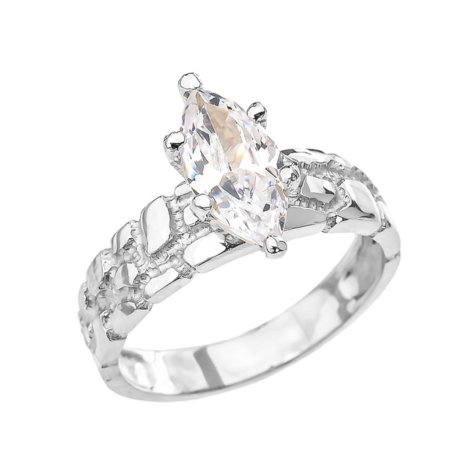 White Gold 2.5 Carat Marquise CZ Solitaire Nugget Engagement Ring