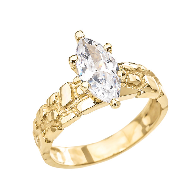 Yellow Gold 2.5 Carat Marquise CZ Solitaire Nugget Engagement Ring