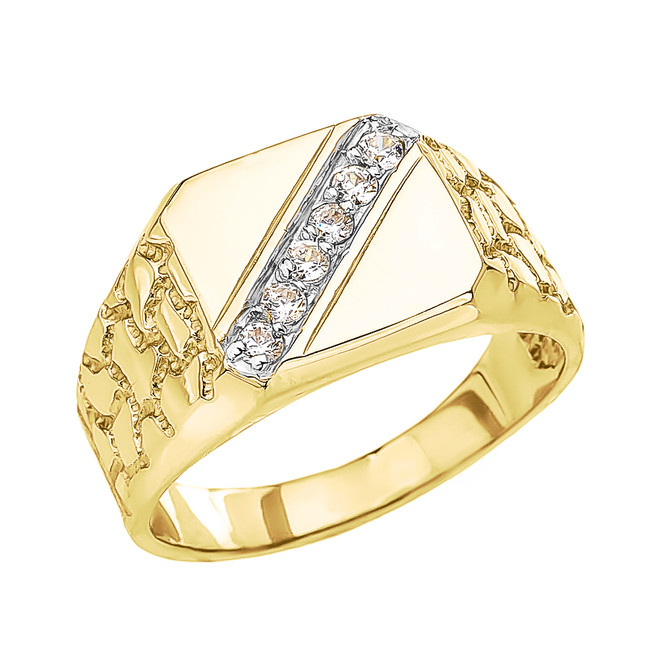 Yellow Gold Cubic Zirconia Signet Men's Nugget Ring