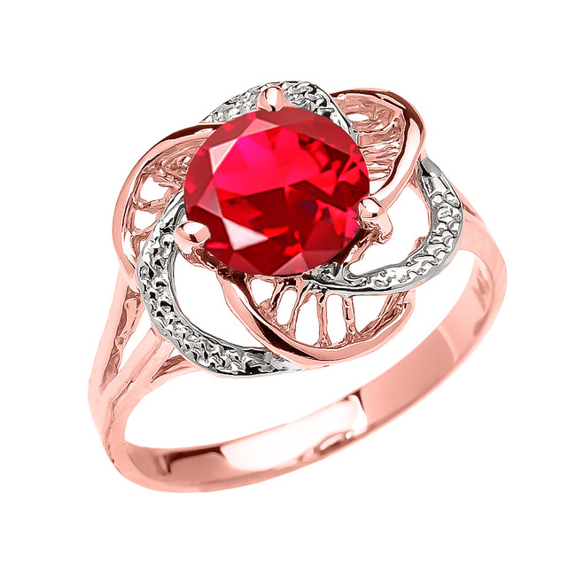 Rose Gold (LCR) Ruby Solitaire Modern Flower Ladies Ring