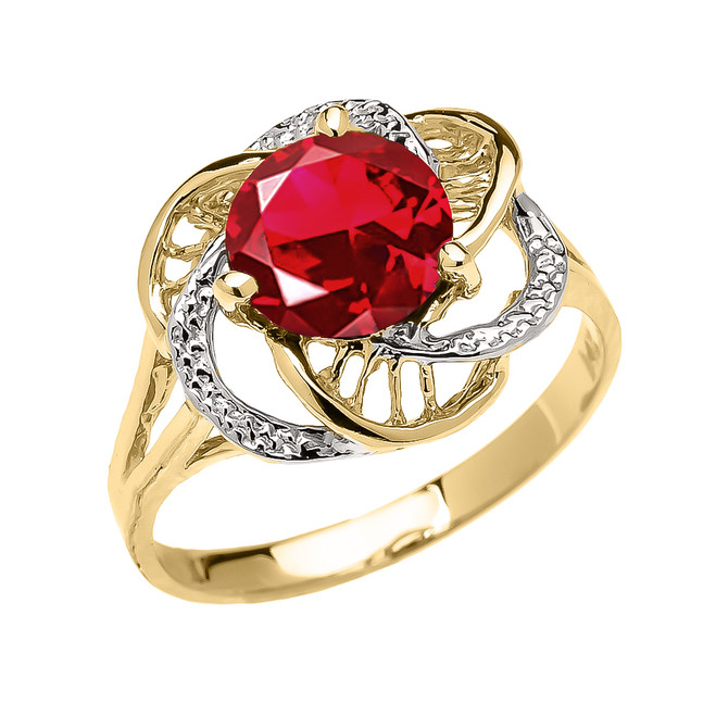 Yellow Gold (LCR) Ruby Solitaire Modern Flower Ladies Ring