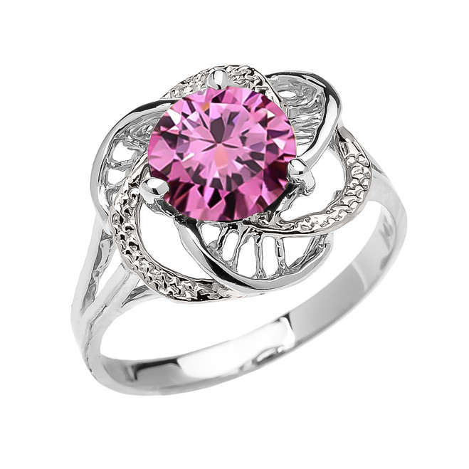 White Gold Pink CZ Solitaire Modern Flower Ladies Ring