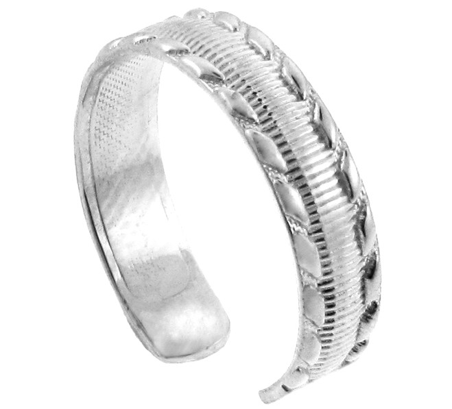 White Gold Milgrain Weave Toe Ring