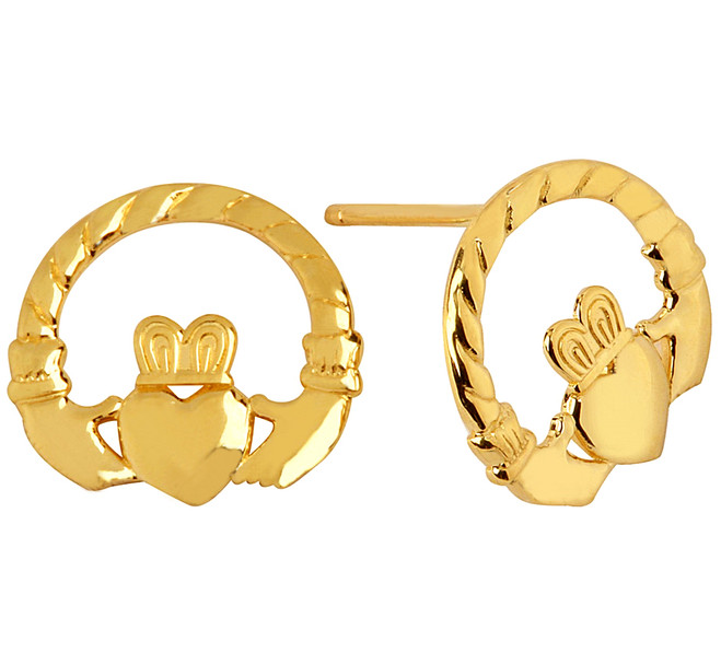 Yellow Gold Classic Claddagh Earrings
