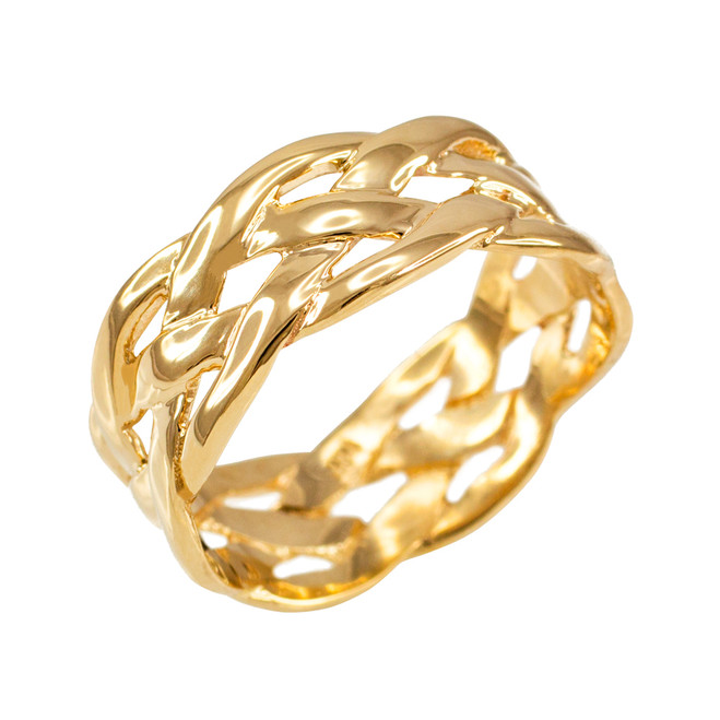 Gold Celtic Weave Wedding Band