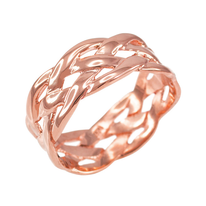 Polished Rose Gold Celtic Weave Wedding Band