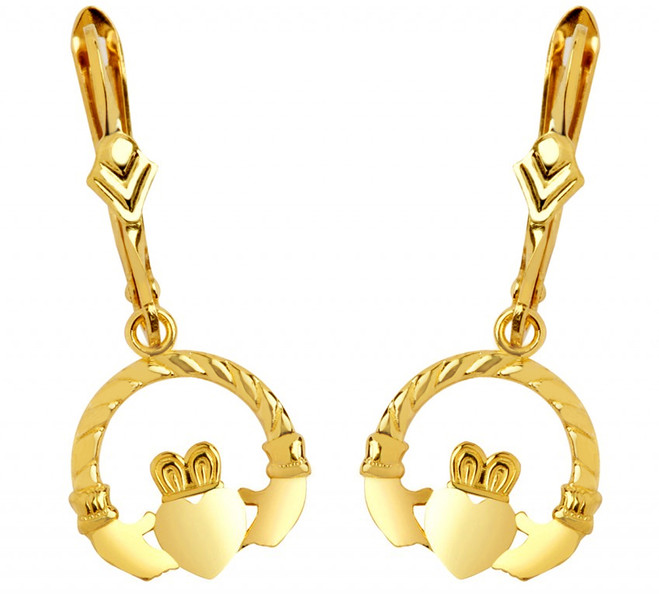 Yellow Gold Leverback Claddagh Earring