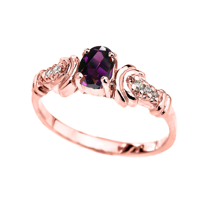 Rose Gold Diamond and Amethyst Oval Solitaire Proposal Ring