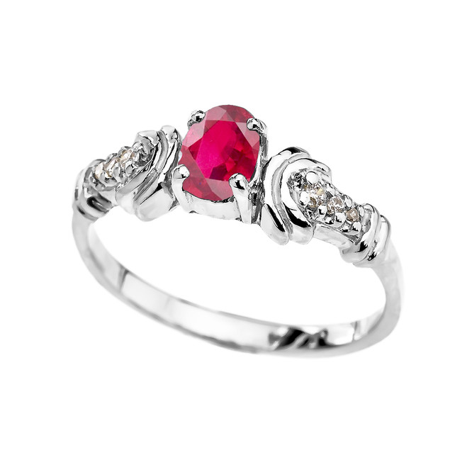 White Gold Diamond and Ruby Oval Solitaire Proposal Ring