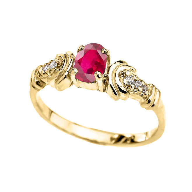 Yellow Gold Diamond and Ruby Oval Solitaire Proposal Ring