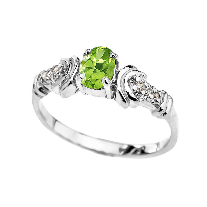White Rose Gold Diamond and Peridot Oval Solitaire Proposal Ring