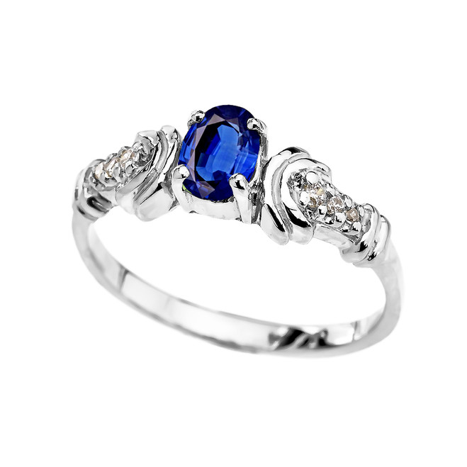 White Gold Diamond and Sapphire Oval Solitaire Proposal Ring