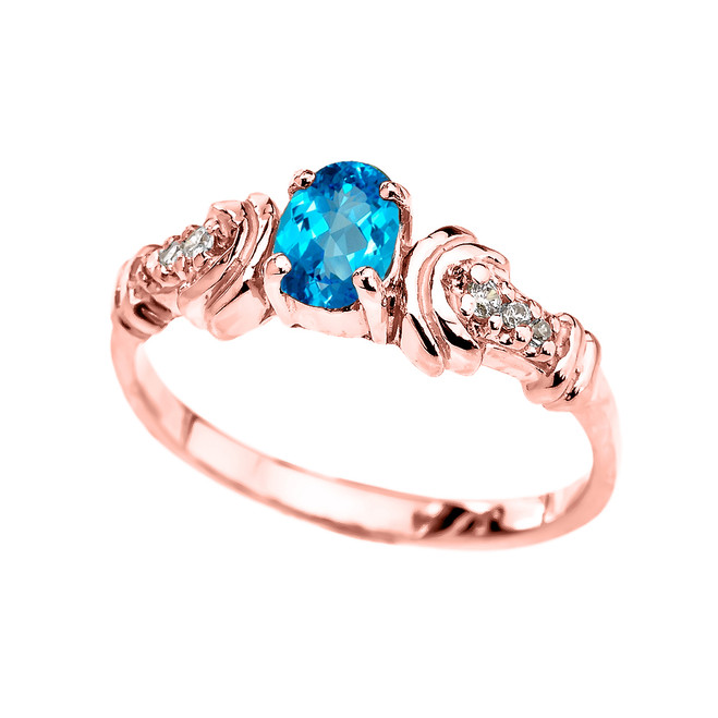 Rose Gold Diamond and Blue Topaz Oval Solitaire Proposal Ring