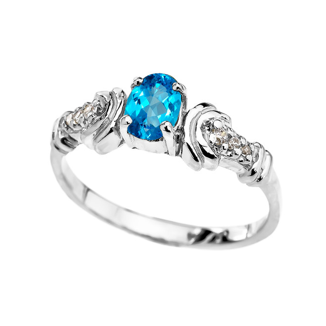 White Gold Diamond and Blue Topaz Oval Solitaire Proposal Ring