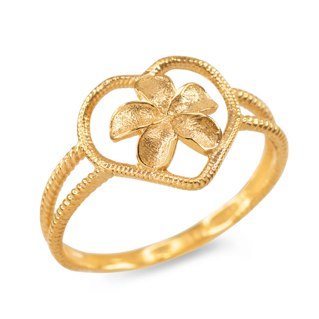 Yellow Gold Plumeria Heart Ring