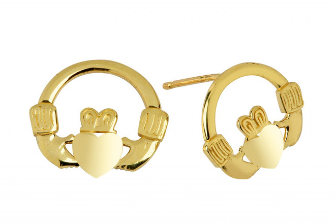 Yellow Gold Bold Claddagh Earring