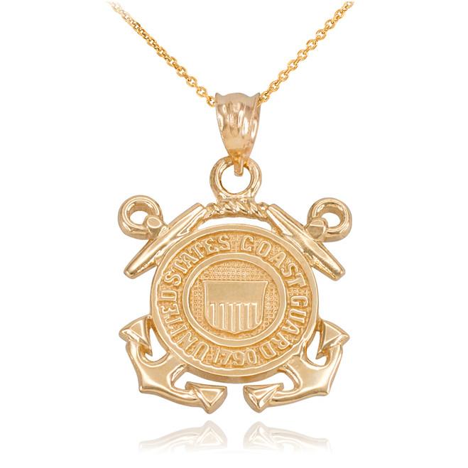 Yellow Gold U.S Coast Guard Pendant Necklace