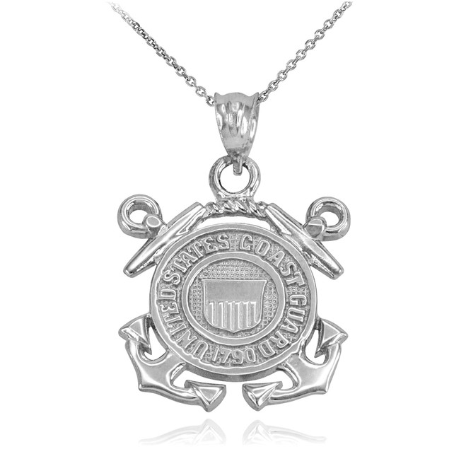 White Gold U.S Coast Guard Pendant Necklace