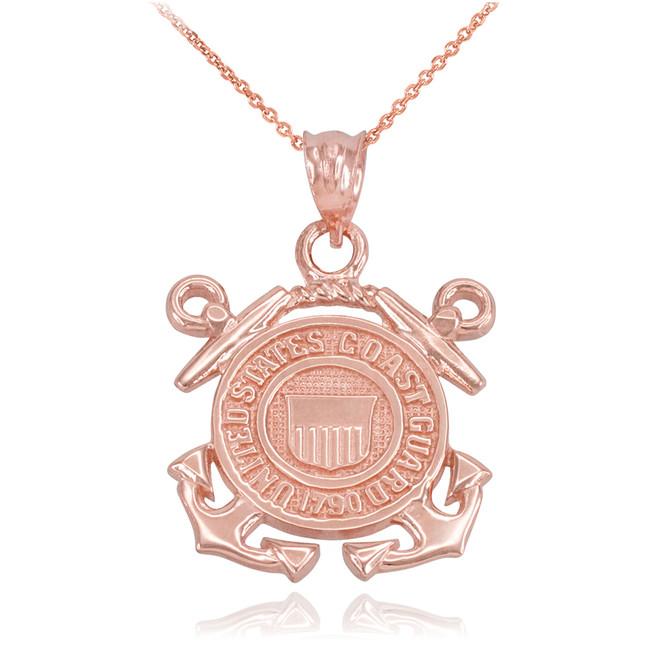 Rose Gold U.S Coast Guard Pendant Necklace