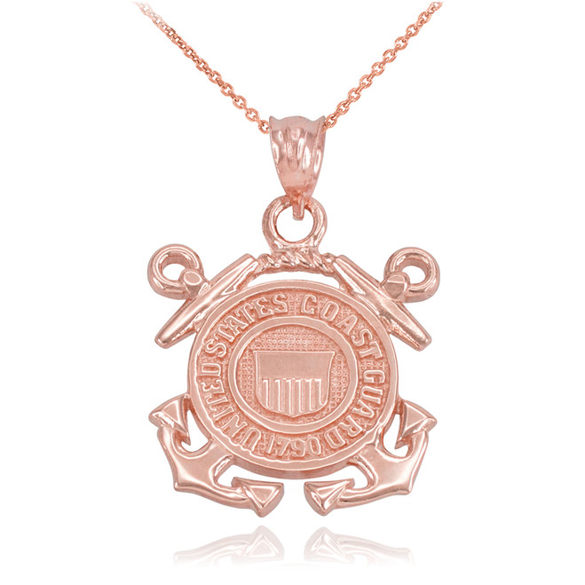 Rose Gold U.S Coast Guard Pendant Necklace