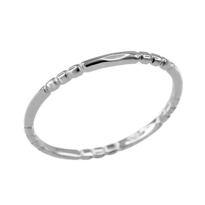 White Gold 1.3 mm Beaded Knuckle Band Ring