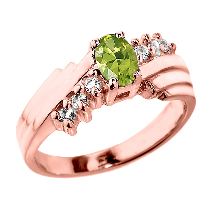 Dazzling Rose Gold Diamond and Peridot Proposal Ring