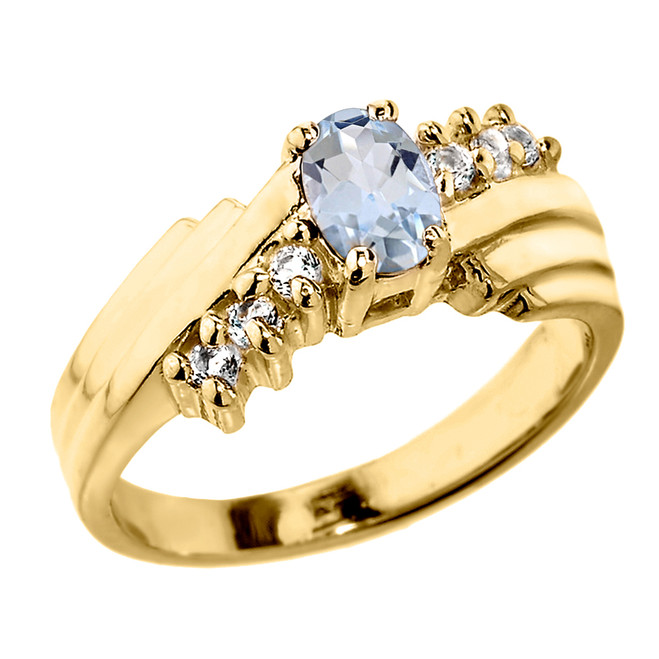 Dazzling Yellow Gold Diamond and Aquamarine Proposal Ring