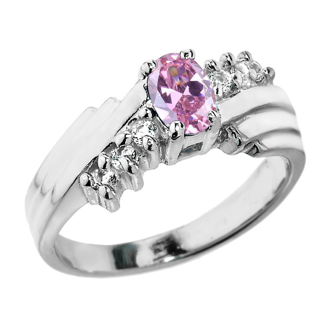 Sterling Silver White Topaz and Pink CZ Ladies Ring