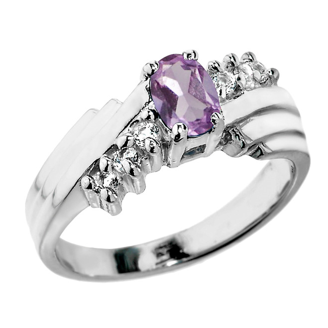Sterling Silver White Topaz and CZ Alexandrite Ladies Ring