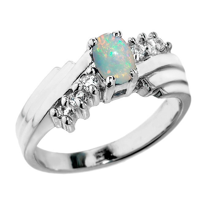 Sterling Silver White Topaz and Opal Ladies Ring