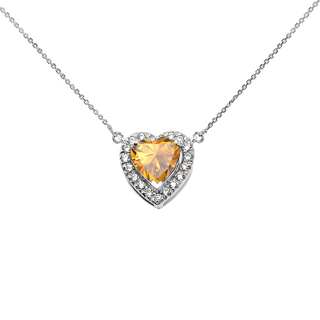 Elegant White Gold Diamond and November Birthstone Yellow Heart Solitaire Necklace