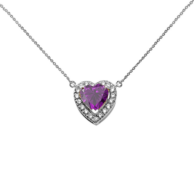 Elegant White Gold Diamond and February Birthstone Amethyst Heart Solitaire Necklace