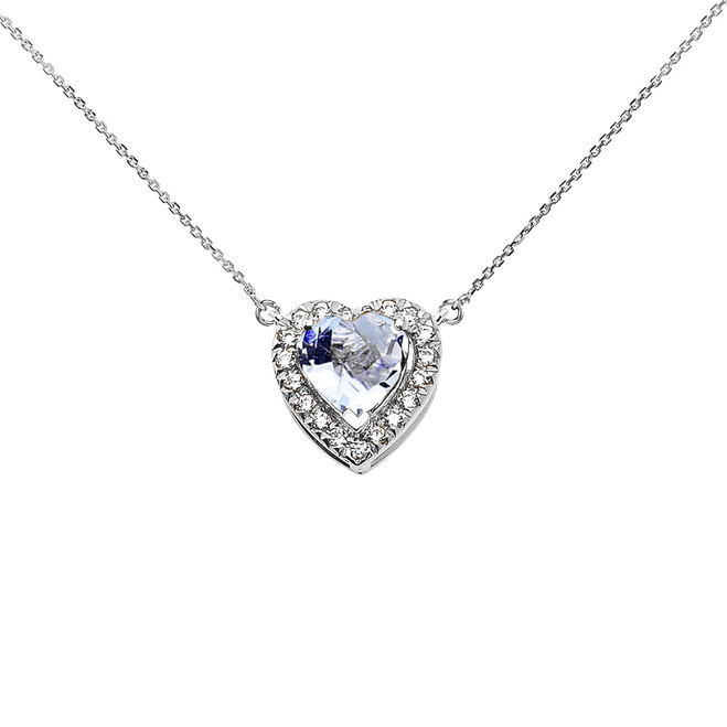 Elegant White Gold Diamond and March Birthstone Aquamarine Heart Solitaire Necklace