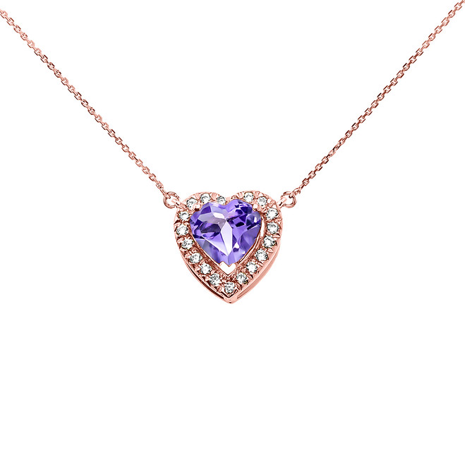 Elegant Rose Gold Diamond and June Birthstone Heart Solitaire Necklace