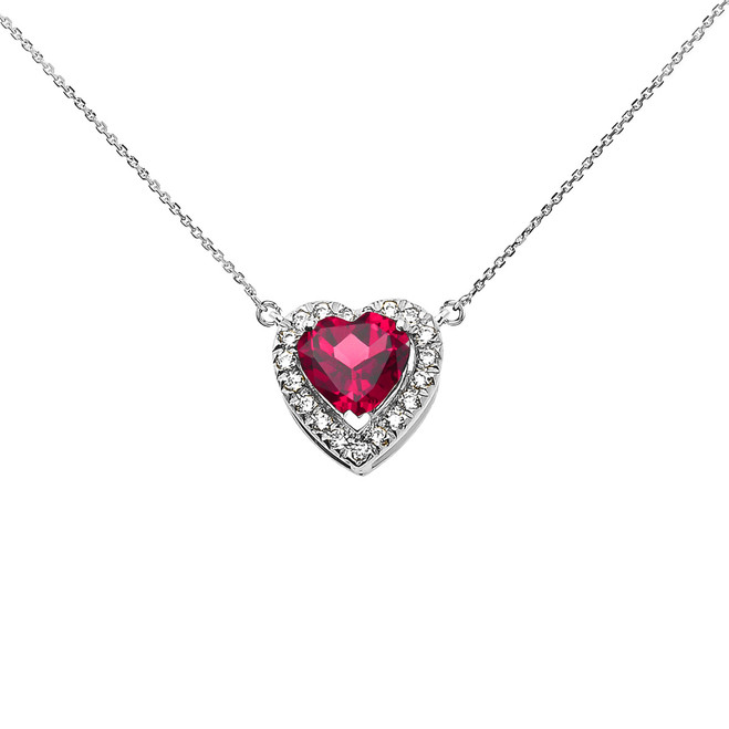 Elegant White Gold Diamond and July Birthstone Heart Solitaire Necklace