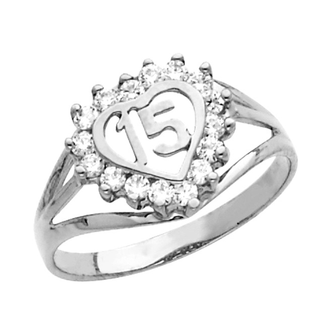 White Gold Quinceanera 15 Anos CZ Ring