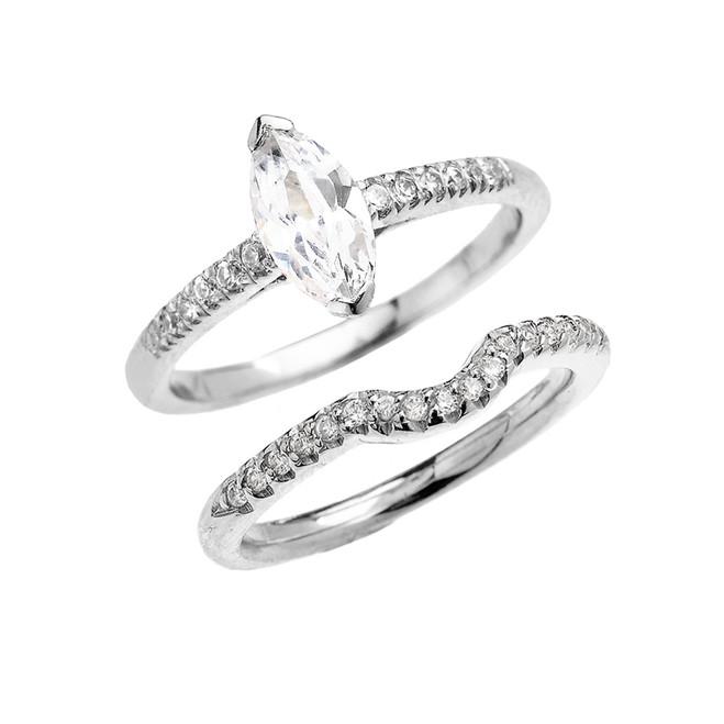 White Gold Dainty Diamond Wedding Ring Set With 1.25 Carat Marquise Shape Cubic Zirconia Center Stone