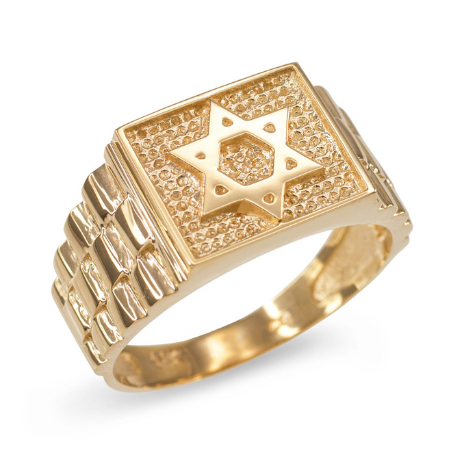 Gold Star of David Watchband Ring