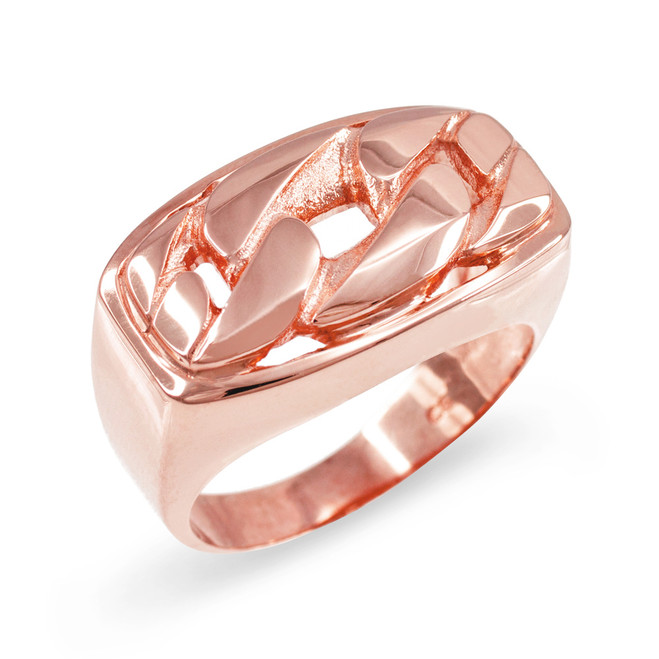Rose Gold Cuban Link Statement Ring
