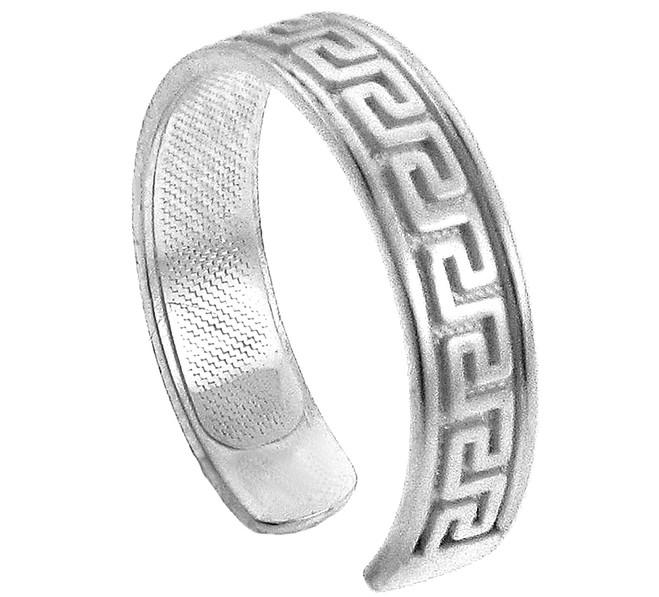 White Gold Greek Key Toe Ring