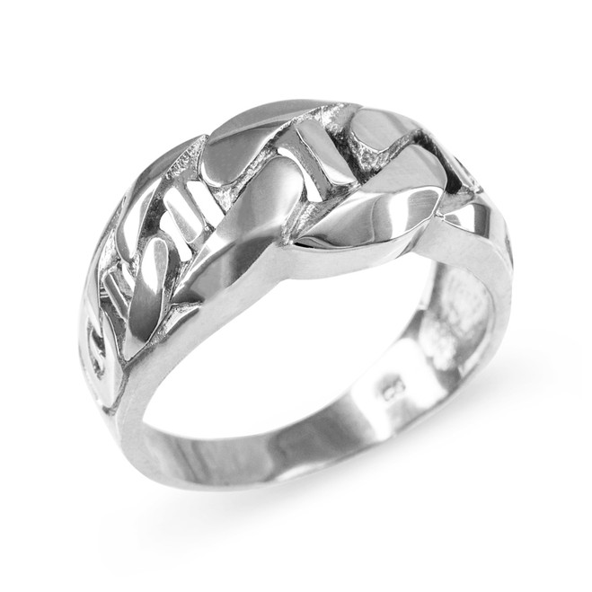 White Gold Mariner Link Chain Ring