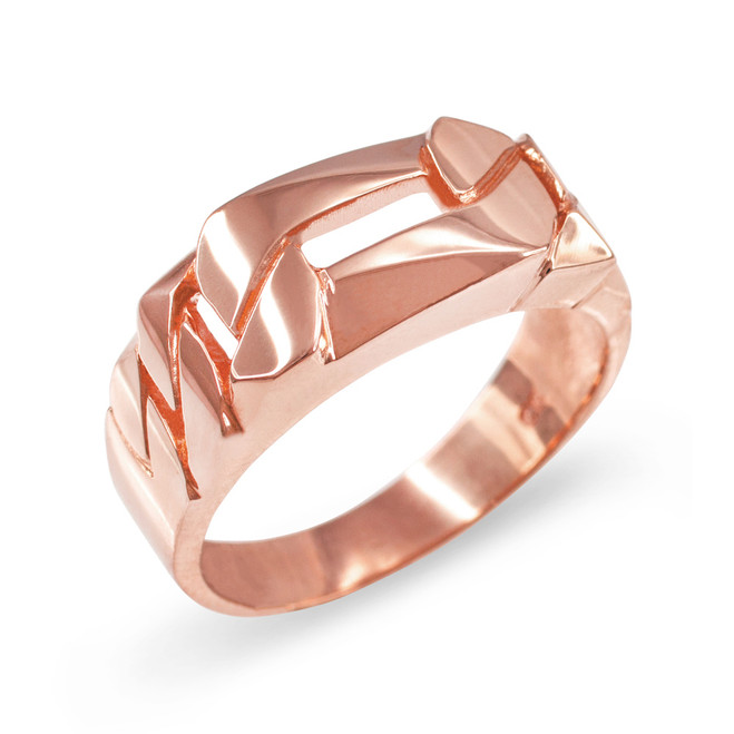 Rose Gold Figaro Link Chain Ring