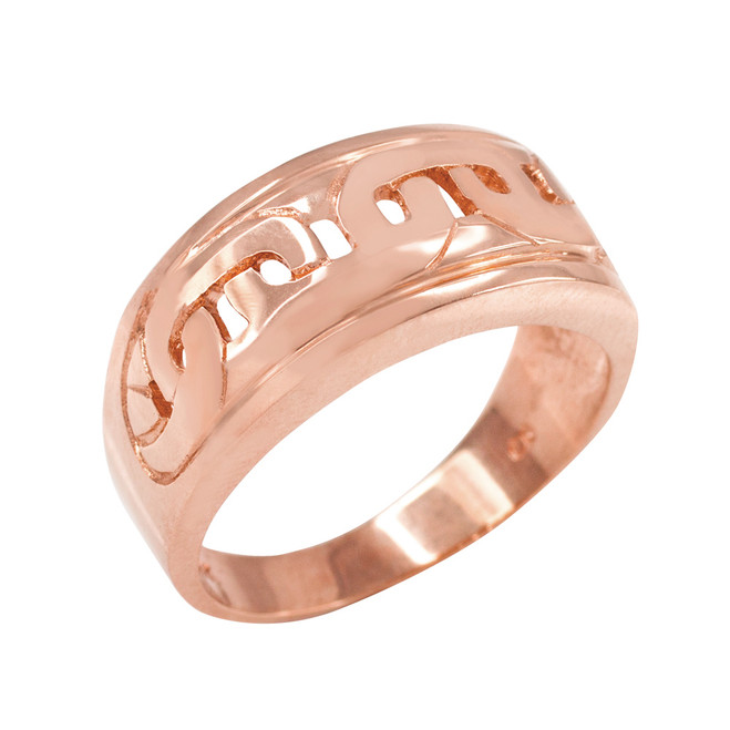 Rose Gold Mariner Link Pattern Ring
