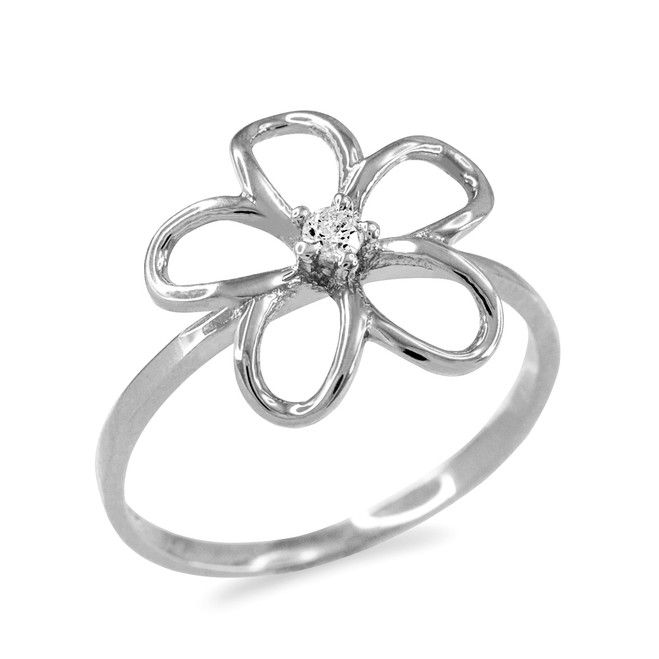 Plumeria Ring White Gold  with Diamond