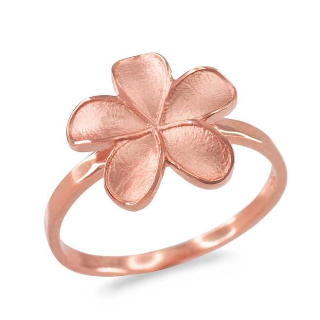 Rose Gold Matte Finish Hawaiian Plumeria Flower Ring