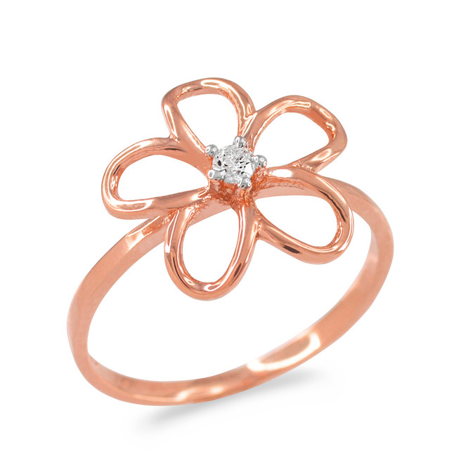 Plumeria Ring Rose Gold  with Diamond