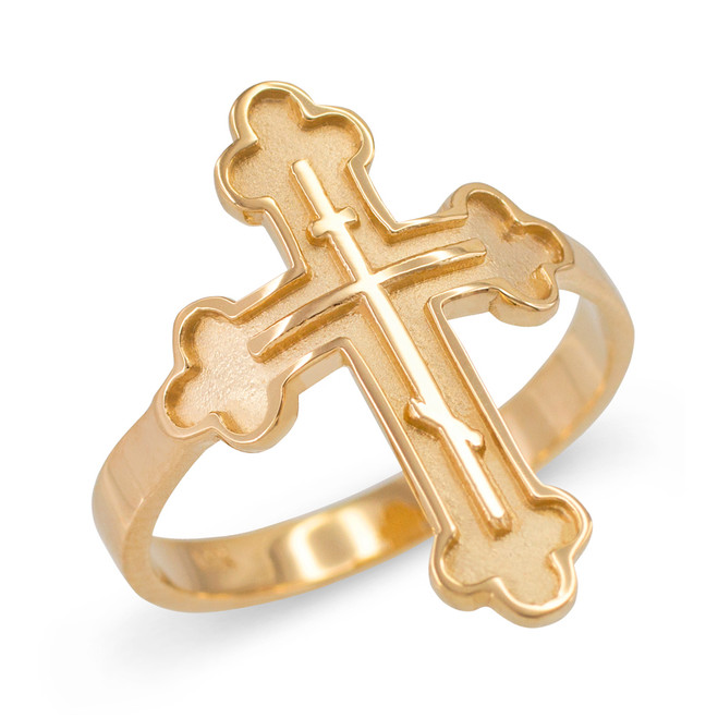 Russian Orthodox Cross Ring in Yellow Gold